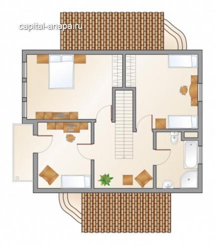 """Поэтажный план, проект дома """"СОЛНЕЧНЫЙ"""" 1 этаж"""