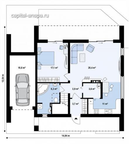 """Поэтажный план, проекта дома  """"СОЛО"""" 1 этаж"""
