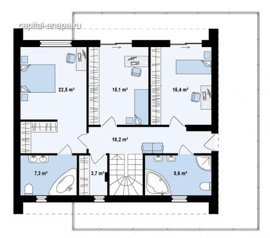 """Поэтажный план, проекта дома  """"СОЛО"""" 2 этаж"""