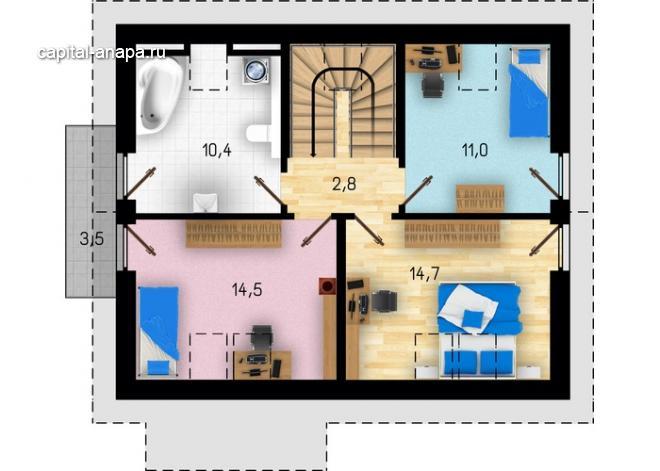 """Поэтажный план, проект дома  """"ВОЛНА"""" 2 этаж"""