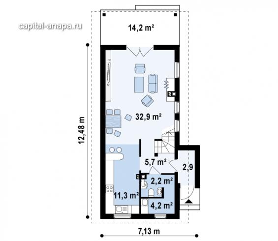 """Поэтажный план, проект дома """"ВОСХОД-2"""" 1 этаж"""