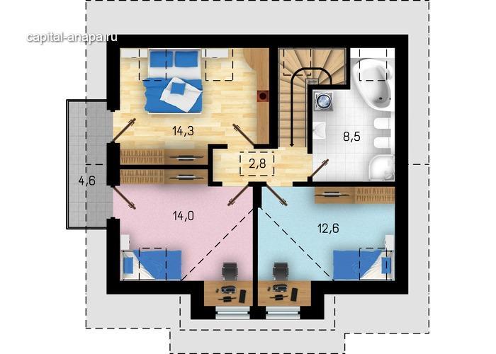 """Поэтажный план, проект дома """"АДОНИС"""" 2 этаж"""