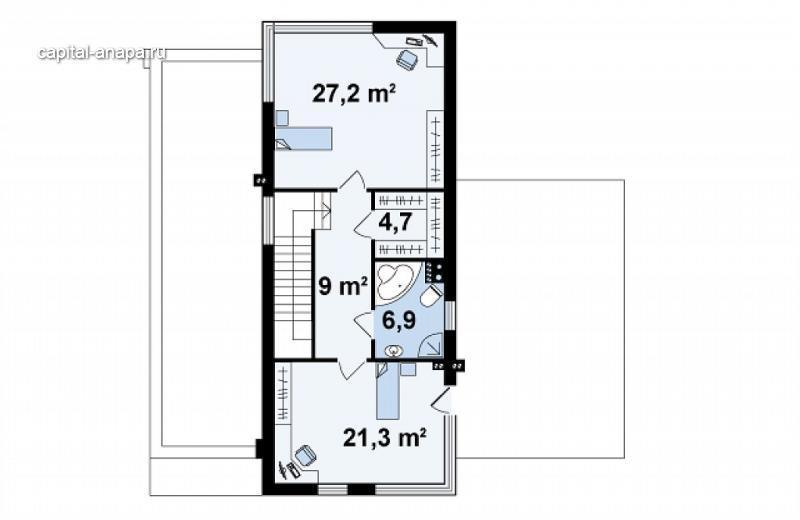 """Поэтажный план, проект дома """"БАЛТИЯ"""" 2 этаж"""