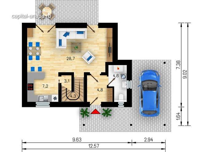 "Поэтажный план ""ТАМАНЬ"" 1 этаж"