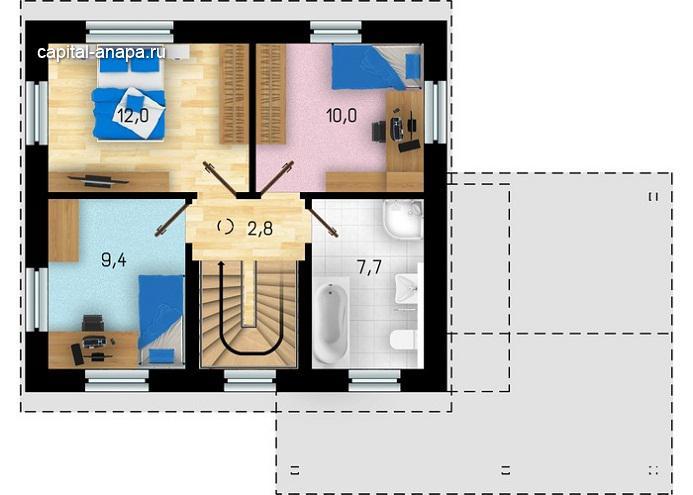 "Поэтажный план ""ТАМАНЬ"" 2 этаж"