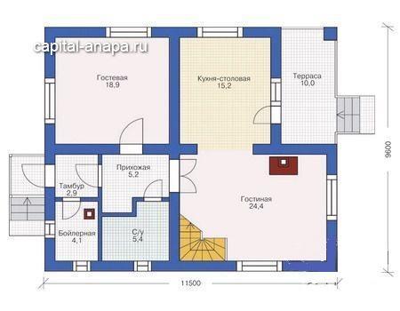 """Поэтажный план, проекта дома """"ЦАРИЦЫНО"""" 1 этаж"""