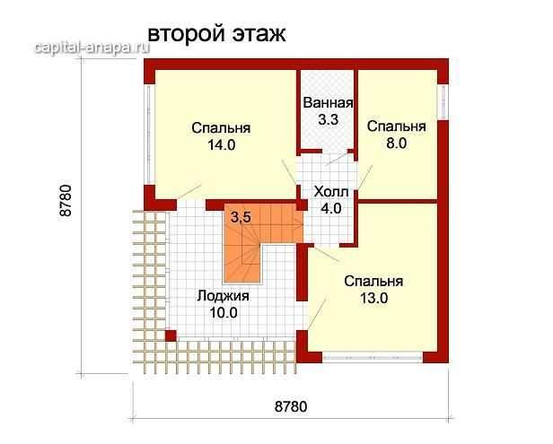 """Поэтажный план, проект дома """"ДОЛЬЧЕ-ПРИМА 1"""" 2 этаж"""