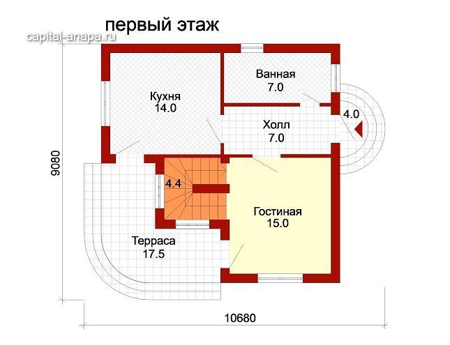 """Поэтажный план, проект дома """"ДОЛЬЧЕ-ПРИМА 1"""" 1 этаж"""