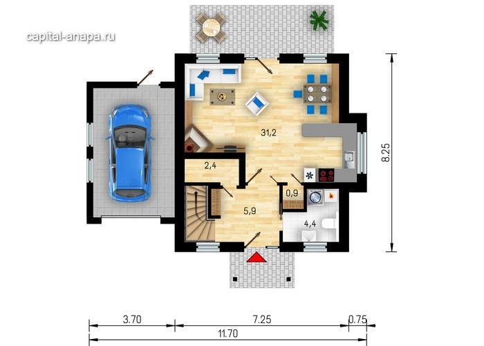 """Поэтажный план, проект дома """"ФИЕСТА"""" 1 этаж"""