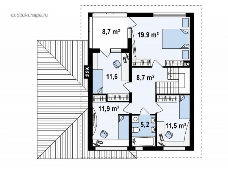 """Поэтажный план, проект дома """"САТУРН"""" 2 этаж"""