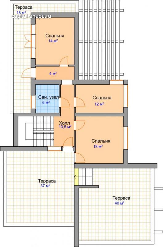 """Поэтажный план, проекта дома """"КОРОНА"""" 2 этаж"""