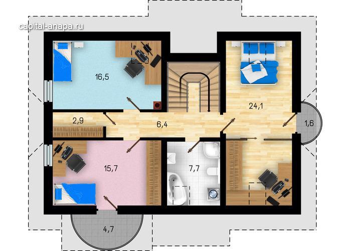 """Поэтажный план, проекта дома """"КВИНТА - 4"""" 2 этаж"""