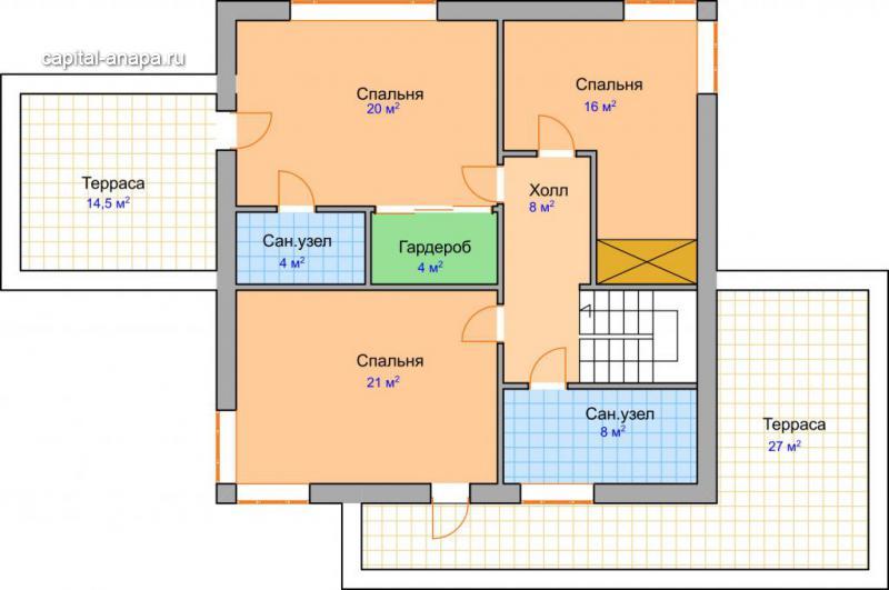 "Поэтажный план, проект дома ""МЕРКУРИЙ"" 2 этаж"