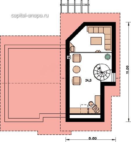 """Поэтажный план, проект дома """"ОЧАГ"""" 2 этаж"""