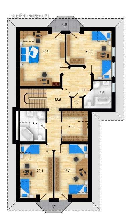 """Поэтажный план, проект дома """"ОКТАВИЯ  2"""", 2 этаж"""