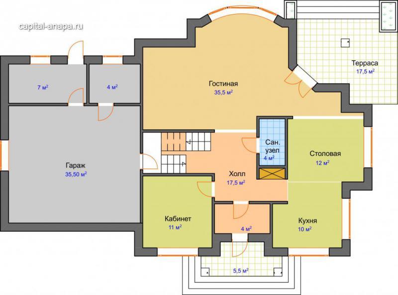 """Поэтажный план, проект дома """"РЕСПЕКТ"""" 1 этаж"""