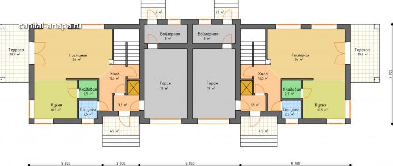 """Поэтажный план, проект дуплекса """"САТУРН"""" 1 этаж"""