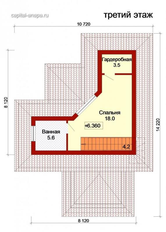 """Поэтажный план, проект дома """"ДОЛЬЧЕ - ПРИМА 5"""" 3 этаж"""