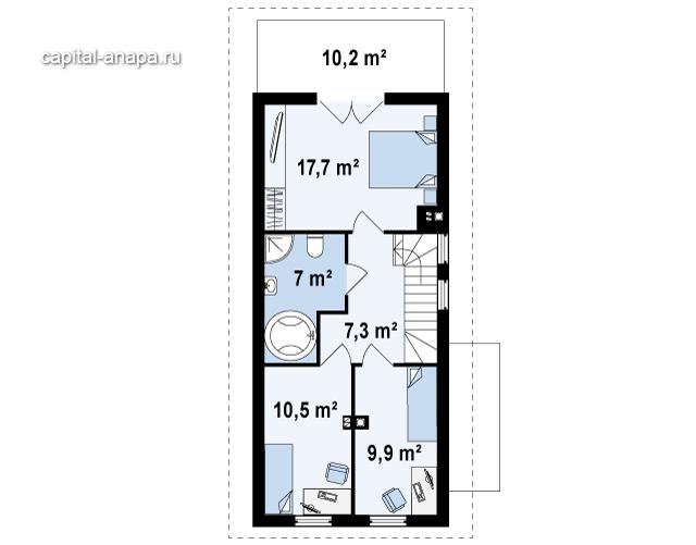 """Поэтажный план, проект дома """"ВОСХОД-2"""" 2 этаж"""
