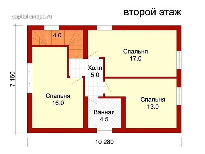 """Поэтажный план, проект дома """"ЮЖНЫЙ"""" 2 этаж"""