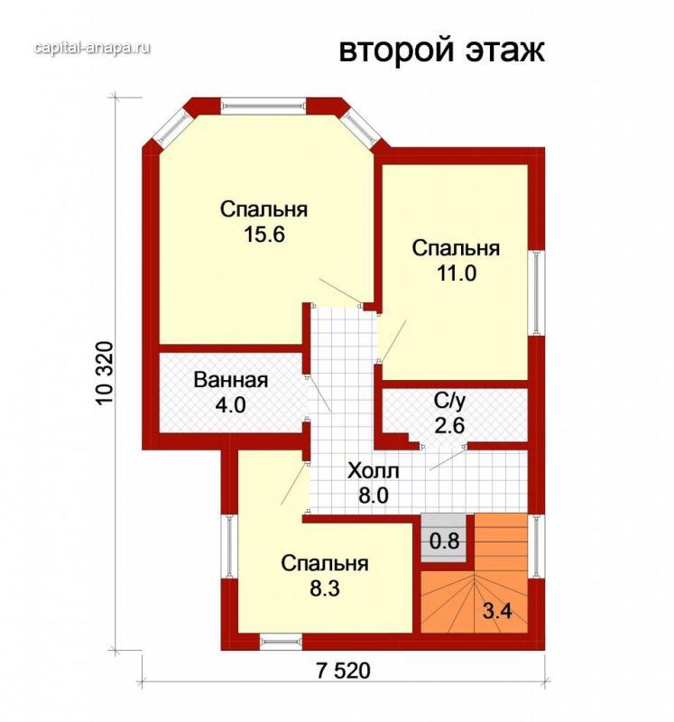 """Поэтажный план, проект дома """"ИРТЫШ -1"""" 2 этаж"""