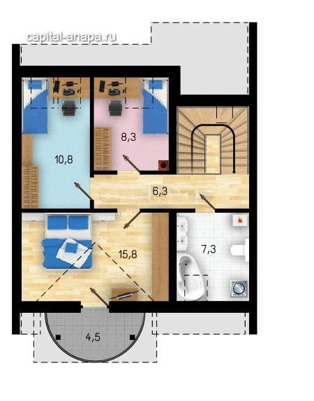 """Поэтажный план, проект таунхауса """"ЯНТАРЬ"""" 2 этаж"""